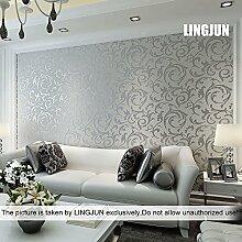 10 Meter 3D Dreidimensional Vlies Fototapete Top Tapete Wandbilder Bild Tapeten Wand (SILBER)