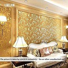 10 Meter 3D Dreidimensional Vlies Fototapete Top Tapete Wandbilder Bild Tapeten Wand (GOLD)