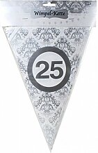 10 Meter Silber Hochzeit Wimpel Girlande ' 25 ' Party Deko Silberhochzeit silberne