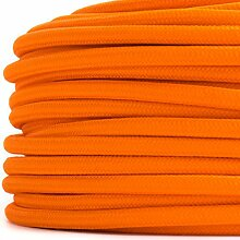 10 Meter   Textilkabel für Lampe, Stoffkabel 2-adrig (2x0,75mm²) * Made in Europe * Orange