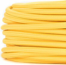 10 Meter   Textilkabel für Lampe, Stoffkabel 2-adrig (2x0,75mm²) * Made in Europe * Gelb