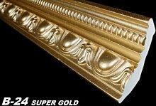 10 Meter Zierprofile Leisten Stuck Dekoration 70x90mm, B-24 SUPER GOLD