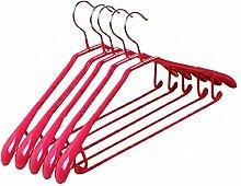 10-Pack Anti-Rutsch Kunststoff Metall Kleiderbügel Erwachsene Anzug Hose Kleiderbügel, #25 Rosa