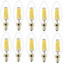 10 Pack Dimmbar E14 C35 4W Glühfaden LED Kerze