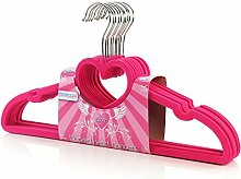 10 Samt beflockte Kleiderbügel mit Herz - pink - 45 cm - Hangerworld