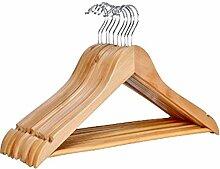 10 Stk. Holz Kleiderbügel mit Hosensteg mit antirutsch Leiste in der Hosenstange und Rockkerben