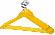 10 Stk. qualitativ hochwertiger Designer Kleiderbügel in Gelb aus Holz mit Hosensteg und Rockaufhängekerben mit 360 Grad drehbarem Harken Garderobenbügel Holzbügel Hosenstange in einem sehr schönen Design