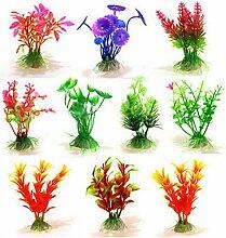 10 Stk Stil künstliche Plastik Blume Gras Pflanze Unterwasser Simulation Aquarium Wasserpflanze mit Keramik-Basis für Fish Tank Dekoration Ornament zufällige Stil gemisch