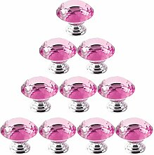 10 Stück 40mm Diamond Shape Kristallglas klar Schrank Küche Badezimmer Pull Türgriffe Griff Rosa