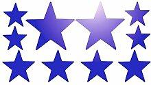 10 Stück Aufkleber, sternförmig, selbstklebend, reflektierend/verspiegelt, blau