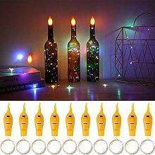 10 LEDs Solar Weinflasche Licht wasserdicht Kupferdraht dekorative Lampe C7B8