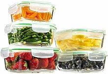 10Stück Glas Rechteckige Frischhaltedosen und