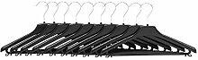 10 Stück Kunststoff-Kleiderbügel Hosensteg Hänger drehbarer Haken L 38 cm schwarz