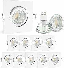 10 Stück LED Einbauleuchte weiß Set - inkl. LED