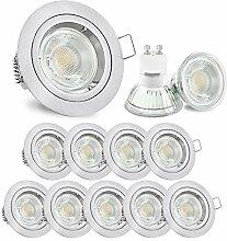 10 Stück LED Einbaustrahler Set Edelstahl Optik