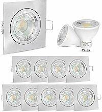 10 Stück linovum LED Einbaustrahler Set eckig