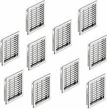 10 Stück - Lüftungsgitter eckig Möbel-Gitter