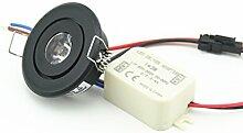 (10Stück) Mini 3W LED Rund Schwarz LED