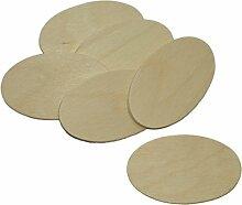 10 Stück Namensschild Holz oval 7x4cm - Holzscheiben zum Basteln Bemalen Gestalten