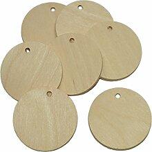 10 Stück Namensschild Holz rund 5cm - Holzscheiben zum Basteln Bemalen Gestalten