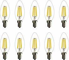 10 Stücke 6W E14 LED Kerze Lampe klar Glühlampe