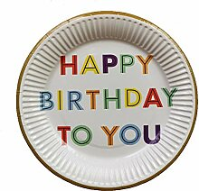 10 stücke 7 Zoll Happy Birthday Pappteller