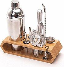 10-teiliges Cocktail Shaker Edelstahl Bambus
