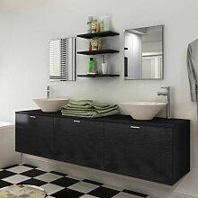 10-tlg. Badmöbel-Set mit Waschbecken und