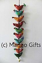 10Tota Bird Bell Traditionelle indische Dekoration zum Aufhängen von Mango Gifts Indien