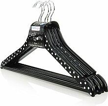 10 Weiß-schwarz gepunktete Holz Kleiderbügel mit Hosensteg - 45cm - Hangerworld