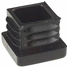 10x 10mm Quadratisch Gerippte Schwarz Kunststoff Einsatz Plugs Endkappen Made in Germany.