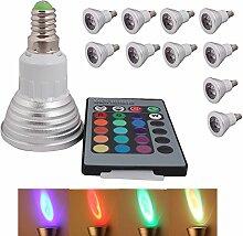 10 x 3W E14 Fernsteuerung LED RGB Lampe Birne &
