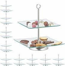 10 x Etagere, 2 stöckig, eckig, Cupcake, Kekse,