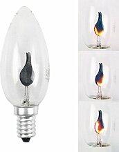 10 x Glühlampe Deko Lampe Flackerkerze E14 3W 3