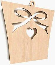 10x Holz Geschenk Herz Schleife Form Aufhängen