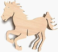 10x Holz kleine Pferde Tiere Verzierung unricon