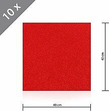 10 x HSM Teppichfliese Nadelfilz Bodenbelag selbstklebend für Treppe, Kinderzimmer oder Küche 40cm x 40cm ROT