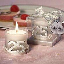 10x Kerzen Silberhochzeit–Details und