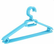 10 x Kleiderbügel drehbar Set Wäschebügel Kinderschrank Bügel Kunststoff Drehbügel (hellblau)