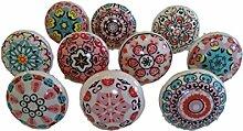 10x Mix Vintage Look Blume Keramik Knöpfe Tür Griff Schrank Schublade Pull Mandala Design