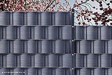 10 x Sichtschutz-Streifen 19x 252 cm BLICKDICHT pro easy (14,62 €/m2), PP anthrazitgrau, für Doppelstabmatten-Zäune