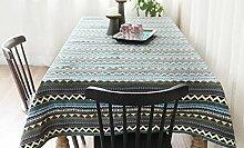 100* 100cm grau Europäische Retro Karte Instagram Tisch Tuch Baumwolle Leinen Esstisch Garten Picknick quadratisch, rechteckig Umweltfreundlich,