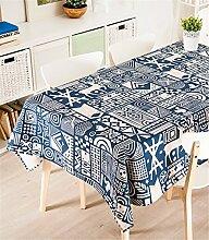 100*140cm blau Skandinavisch Rentier Geometrisch Instagram Tischdecken Baumwolle leinen Esstisch Rezeption rechteckigen quadrat nicht bügeln umweltfreundlich Tischtuch
