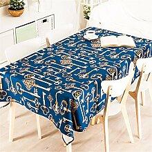 100*140cm Dunkel blau Europäisch Schlüssel Instagram Tischdecken Baumwolle leinen Esstisch Rezeption rechteckigen quadrat nicht bügeln umweltfreundlich Tischtuch
