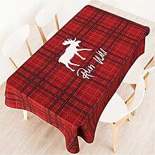 100*140cm rot schwarz Gingham Rentier Instagram Tischdecken Baumwolle leinen Esstisch Rezeption rechteckigen quadrat nicht bügeln umweltfreundlich Tischtuch