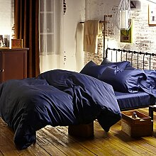 100% ägyptische Baumwolle 60 S Satin Bettwäsche Royal Dunkelblaue Bettbezüge king size Betten Farbe Laken Queensize Be