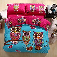 100% Baumwolle 3d Owl Bettwäsche-Set Karikatur