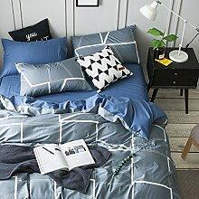 100 % baumwolle bettwäsche set weich komfortabel langlebig bettlaken gitter-A Queen2