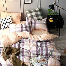 100 % baumwolle bettwäsche set weich komfortabel langlebig bettlaken gitter-H Queen2