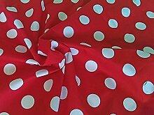 100% Baumwolle Breit Tupfen rot 108 cm breit x 1 m